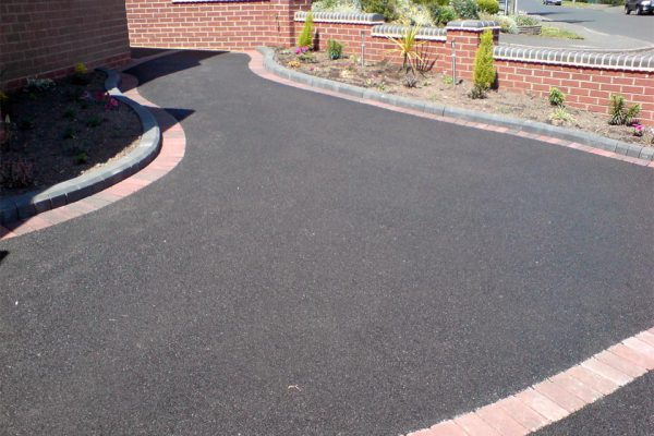 Tarmac With A Brindle Block Paving Edge